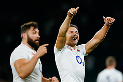 England Inside Centre Sam Burgess is all smiles after England win the match - Mandatory byline: Rogan Thomson/JMP - 07966 386802 - 15/08/2015 - RUGBY UNION - Twickenham Stadium - London, England - England v France - QBE Internationals 2015.