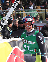 21.01.2011, Hahnenkamm, Kitzbuehel, AUT, FIS World Cup Ski Alpin, Men, Super G, im Bild Aksel Lund Svindal (NOR) reacts in the finish area after competing in the 2011 Hahnenkamm Super Giant Slalom race (Super G)part of  Audi FIS World Cup races in Kitzbuhel Austria. EXPA Pictures © 2011, PhotoCredit: EXPA/ M. Gunn