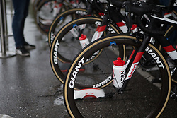Bottles for Team Sunweb riders are prepared for the warm up for Stage 3 of the Ladies Tour of Norway - a 156.6 km road race, between Svinesund (SE) and Halden on August 20, 2017, in Ostfold, Norway. (Photo by Balint Hamvas/Velofocus.com)