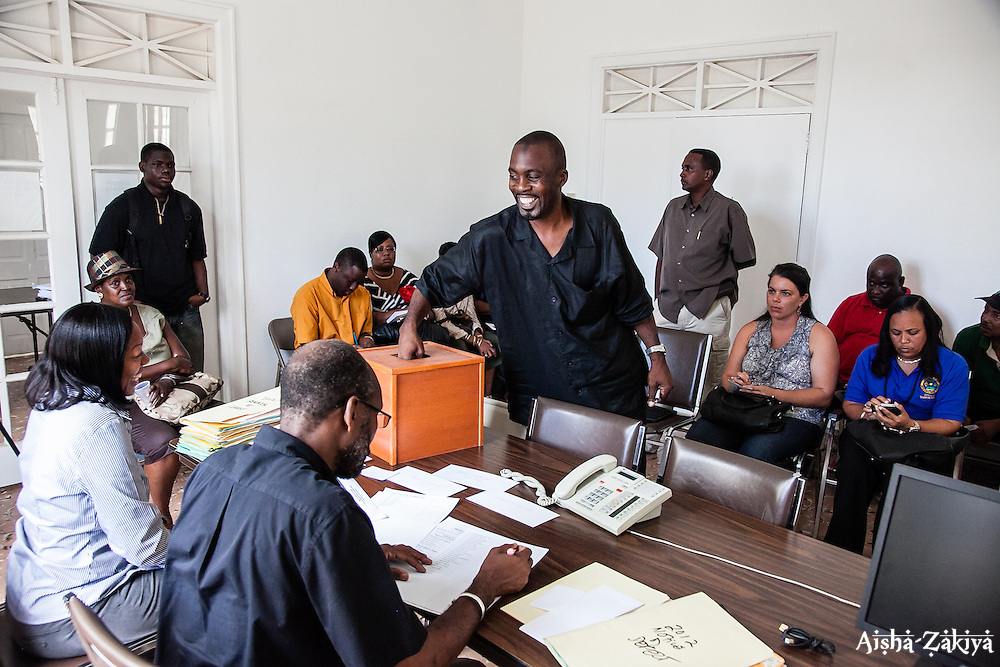 Senate candidate Blyden draws # 34.  Casting of Lots.  Board of Elections.  10 September 2012.  © Aisha-Zakiya Boyd