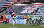 O'Donnell saves during the Sky Bet League 1 match between Wigan Athletic and Doncaster Rovers at the DW Stadium, Wigan, England on 16 August 2015. Photo by Simon Davies.