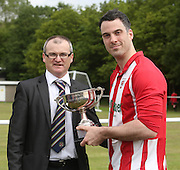 DC Athletic captain Graeme McJ=Kenna receives the Premier division championship trophy from League secretary Steve McSwiggan - Dundee Saturday Morning FA - Super Saturday at Dundee UNI<br /> <br />  - &copy; David Young - www.davidyoungphoto.co.uk - email: davidyoungphoto@gmail.com