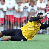 Orlando City Lions Goalkeeper Miguel Gallardo (1) during warmups before a United Soccer League Pro soccer match between the Richmond Kickers and the Orlando City Lions at the Florida Citrus Bowl on May 25, 2011 in Orlando, Florida.  (AP Photo/Alex Menendez)
