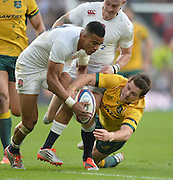 Twickenham, Great Britain,  Englands'  Antony WATSON, left and Nick PHIPPS, grapple for the loose ball during the QBE Autumn International, England vs Australia, played at the RFU Stadium, Twickenham, ENGLAND. 15:09:28   Saturday  29/11/2014  [Mandatory Credit; Peter Spurrier/Intersport-images]