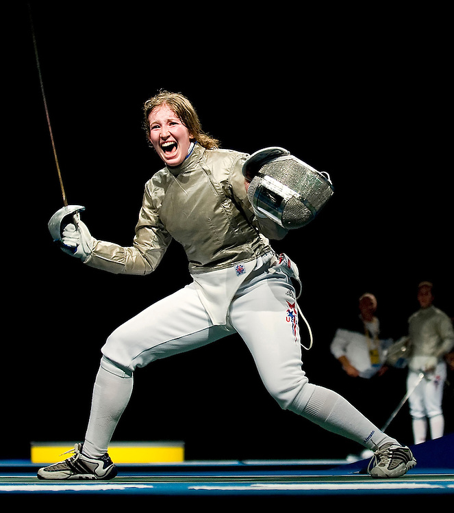 Becca Ward of the United States reacted to her 15-14 victory over Azza Besbes of Tunisia in the quarterfinals of women's individual sabre competition during the 2008 Summer Olympic Games in Beijing, China. (photo by David Eulitt / MCT)