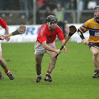 Crusheen's Patrick Vaughan about to gather possession against Sixmilebridge in the Co. Senior Hurling Final 2011.<br /> Photograph by Flann Howard