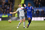 Leicester City midfielder Demarai Gray (7) battles with Everton defender Leighton Baines (3) during the Premier League match between Leicester City and Everton at the King Power Stadium, Leicester, England on 29 October 2017. Photo by Jon Hobley.