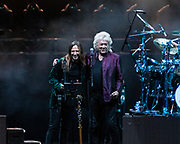JON DAVISON of Yes (L) and JOHN LODGE of The Moody Blues at Five Point Theater in Irvine, California.