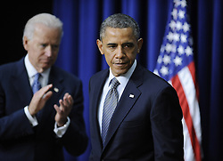 U.S. President Barack Obama and Vice President Joe Biden attend an event on gun violence reduction proposals at the White House in Washington D.C., capital of the United States, Jan. 16, 2013. Obama on Wednesday unveiled a sweeping and expansive package of gun violence reduction proposals, a month after the Sandy Hook Elementary School mass shooting killed 26 including 20 schoolchildren, January 16, 2013. Photo by Imago / i-Images...UK ONLY