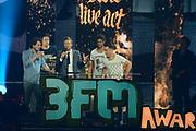 De 3FM Awards 2014 in de Gashouder, Amsterdam.<br /> <br /> Op de foto:  Chef Special wint de award voor beste live act
