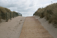 Walkway to Curracloe Beach in Wexford Ireland where the opening scenes of Spielberg's film Saving Private Ryan was filmed