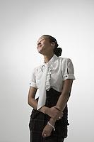 Young elegant woman smiling studio shot