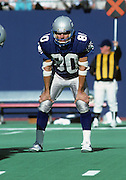 Seattle Seahawks wide receiver Steve Largent (80) waits for the snap during the NFL football game between the Seattle Seahawks and the New York Jets on October 27, 1985 in East Rutherford, New Jersey. The Jets won the game 17-14. ©Paul Anthony Spinelli