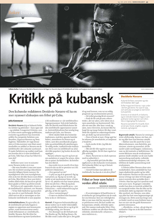 Portrait of Desiderio Navarro  - Cuban Writer<br /> Mongenbladet - Norway 2013