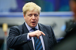 © Licensed to London News Pictures. 14/03/2016. London, UK. Mayor of London Boris Johnson talking to new apprentices whilst at BT Sports studio at the former press and broadcast centre in the Queen Elizabeth Olympic Park in London to kick start National Apprenticeship Week on Monday, 14 March 2016. Photo credit: Tolga Akmen/LNP