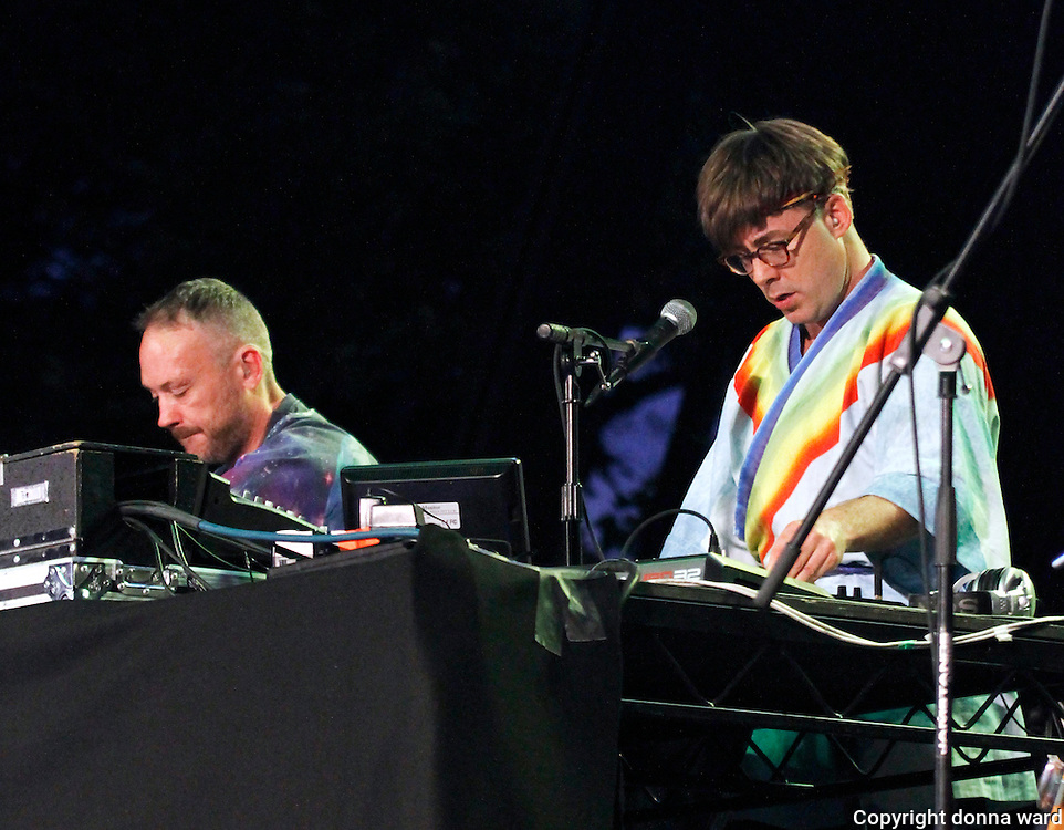Simon Ratcliffe and Felix Buxton of the Basement Jaxx perform during the 30th Anniversary season of Central Park SummerStage in Rumsey Playfield in New York City, New York on July 01, 2015.