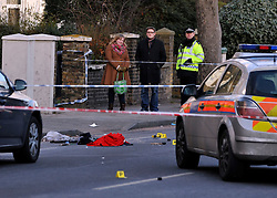 © Licensed to London News Pictures. 19/02/2012, London, UK. The scene at Stanstead Road today 19 February 2012. First aid equipment and a red blanket. Police have shot a man in Forest Hill, London with firearms and a taser. A man is in a critical condition after being shot by police in south-east London. Police were called to reports of a man trying to break into a car in Elsinore Road, Forest Hill, in the early hours.. Photo credit : Stephen Simpson/LNP