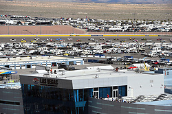 March 4, 2018 - Las Vegas, NV, U.S. - LAS VEGAS, NV - MARCH 04: Joey Logano (22) Team Penske Pennzoil Ford Fusion and Kyle Busch (18) Joe Gibbs Racing (JGR) Toyota Camry lead the pack around the track under caution during the Monster Energy NASCAR Cup Series Pennzoil 400 on March 04, 2018 at Las Vegas Motor Speedway in Las Vegas, NV. (Photo by Chris Williams/Icon Sportswire) (Credit Image: © Chris Williams/Icon SMI via ZUMA Press)