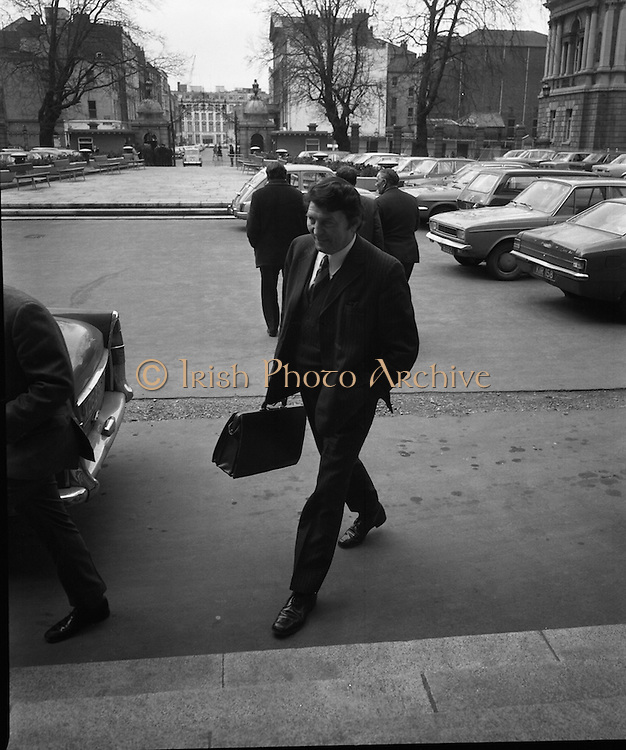 Dail Reassembles at Leinster House..1973..28.03.1973..03.28.1973..28th March 1973..After the recent general election The Dail resumed today at Leinster House,Dublin..Image of Mr Jerry Cronin TD ,former Minister for Defence arriving to start work in the resumed Dail.