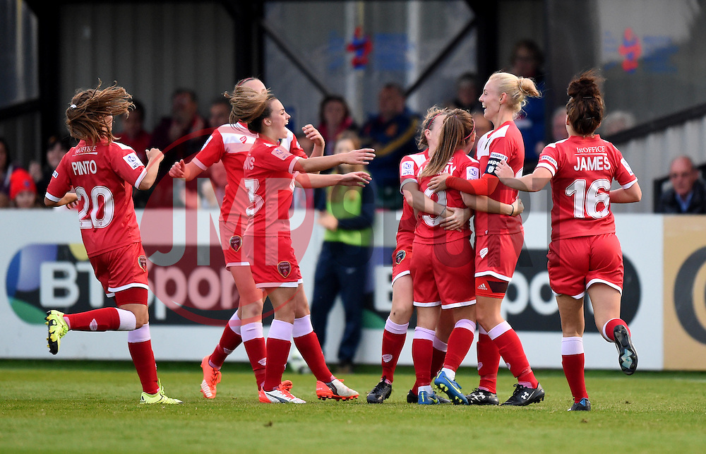 Christie Murray of Bristol Academy Women celebrates with team mates - Mandatory by-line: Paul Knight/JMP - Mobile: 07966 386802 - 04/10/2015 -  FOOTBALL - Stoke Gifford Stadium - Bristol, England -  Bristol Academy Women v Liverpool Ladies FC - FA Women's Super League