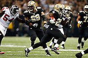 NEW ORLEANS, LA - NOVEMBER 11:  Chris Ivory #29 of the New Orleans Saints runs the ball against the Atlanta Falcons at Mercedes-Benz Superdome on November 11, 2012 in New Orleans, Louisiana.  The Saints defeated the Falcons 31-27.  (Photo by Wesley Hitt/Getty Images) *** Local Caption *** Chris Ivory