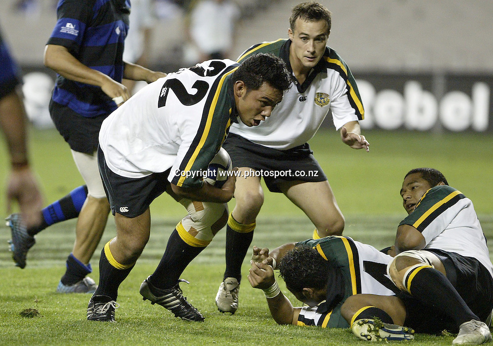 Willie Tuki of Grammar Carlton in action during the rugby union club match between Grammar Carlton and Ponsonby, at Eden Park, Auckland, on Friday 6 May, 2005. Photo: Michael Bradley/PHOTOSPORT<br />