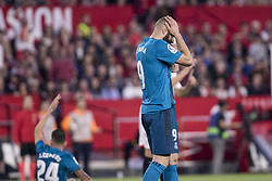 May 9, 2018 - Seville, Spain - KARIM BENZEMA of Real Madrid laments after missing a chance at goal during the La Liga soccer match between Sevilla FC and Real Madrid at Sanchez Pizjuan Stadium (Credit Image: © Daniel Gonzalez Acuna via ZUMA Wire)