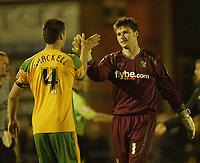 Photo: Aidan Ellis.<br /> Rochdale v Norwich City. Carling Cup. 28/08/2007.<br /> Norwich hero David Marshall is congratulated bt Jason Shackell