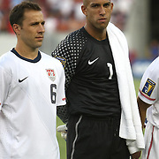 United States goalkeeper Tim Howard and USA defender Steve Cherundolo (6) prior to a CONCACAF Gold Cup soccer match between the United States and Panama on Saturday, June 11, 2011, at Raymond James Stadium in Tampa, Fla. (AP Photo/Alex Menendez)
