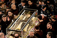 Rome, Italy. 3th Febraury 2016<br /> The relic of  St. Pio of Pietrelcina arrive  in the Basilica of San Lorenzo Fuori le mura.  The St. Pio of Pietrelcina were called to Rome by Pope Francis as symbol of the Mercy Jubilee.