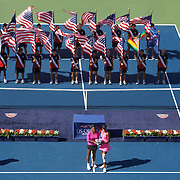 Serena Williams, (left) and Venus Williams, USA,  during their victory over Black and Huber  during the Women's Doubles Final at  the US Open Tennis Tournament at Flushing Meadows, New York, USA, on Monday, September 14, 2009. Photo Tim Clayton.