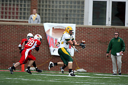 25 October 2008: Brent Holtz closes in on Jerimiah Wurzbacher who almost makes his 2nd interception of the day in a game which the North Dakota Bison defeated the Illinois State Redbirds at Hancock Stadium on campus of Illinois State University in Normal Illinois
