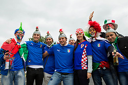 Fans of Italy and Croatia prior to the UEFA EURO 2012 group C match between Italy and Croatia at Poznan City Stadium on June 14, 2012 in Poznan, Poland.  (Photo by Vid Ponikvar / Sportida.com)