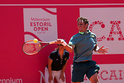 May 4, 2018 - Estoril, Portugal - Roberto Carballes Baena of Spain returns a ball to Stefanos Tsitsipas of Greece during the Millennium Estoril Open ATP 250 tennis tournament quarterfinals, at the Clube de Tenis do Estoril in Estoril, Portugal on May 4, 2018. (Credit Image: © Pedro Fiuza via ZUMA Wire)