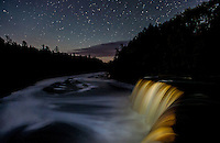 Tahquamenon Falls at Night. Photos shot of fall color, Lake Superior, stars and moon in the Pictured Rocks National Lakeshore and Hiawatha National Forest areas of Michigan's Upper Peninsula (UP) the first week of October 2014. (photo by Bryan Mitchell)<br /> To order a signed print contact Bryan at bryan@bryanmitchell.com