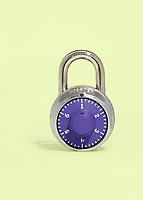 Master Lock combination padlock photo illustration depicting the most common password