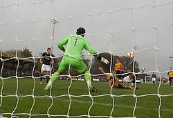 Falkirk's Farid El Alagui scoring their third goal..Annan Athletic 0 v 3 Falkirk. Semi Final of the Ramsdens Cup, 9/10/2011..Pic © Michael Schofield.