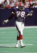 Buffalo Bills defensive end Bruce Smith (78) gestures during the NFL football game between the Buffalo Bills and the New York Jets on September 15, 1985 in East Rutherford, New Jersey. The Jets won the game 42-3. ©Paul Anthony Spinelli
