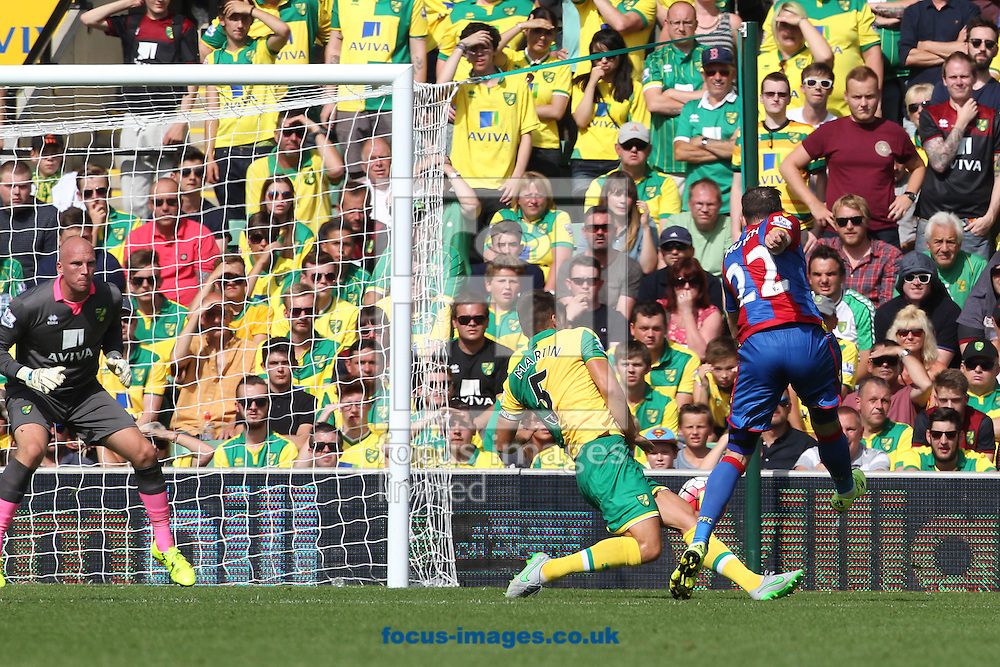 Jordon Mutch of Crystal Palace has a shot on goal during the Barclays Premier League match at Carrow Road, Norwich<br /> Picture by Paul Chesterton/Focus Images Ltd +44 7904 640267<br /> 08/08/2015