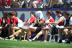 BALTIMORE, MD - Saturday, July 28, 2012: Liverpool Jose Enrique keeps cool with an iced towel after the goalless draw against Tottenham Hotspur during a pre-season friendly match at the M&T Bank Stadium. (Pic by David Rawcliffe/Propaganda)