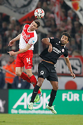 16.12.2014, RheinEnergieStadion, Köln, GER, 1. FBL, 1. FC Köln vs 1. FSV Mainz 05, 16. Runde, im Bild Jonas Hector (1. FC Koeln #14) im Kopfballduell gegen Sami Allagui (FSV Mainz 05 #9) // during the German Bundesliga 16th round match between 1. FC Cologne and 1. FSV Mainz 05 at the RheinEnergieStadion in Köln, Germany on 2014/12/16. EXPA Pictures © 2014, PhotoCredit: EXPA/ Eibner-Pressefoto/ Schüler<br /> <br /> *****ATTENTION - OUT of GER*****