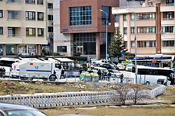 February 5, 2018 - Ankara, Turkey - A photo taken in Ankara, Turkey on March 13, 2017 shows Turkish police forces blocking the roads to the Embassy of the Netherlands during a diplomatic incident as the Netherlands had formally withdrawn its ambassador to Turkey, who has been physically barred from the country for almost a year, over a dispute that began in March 2017, and it will also not accept the appointment of a new Turkish ambassador to the Netherlands, the Dutch Foreign Ministry stated on February 5, 2018. (Credit Image: © Altan Gocher/NurPhoto via ZUMA Press)