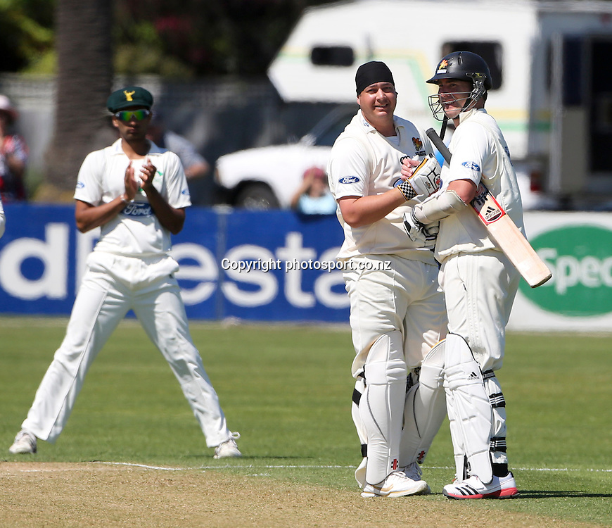 Wellington's Jesse Ryder celebrates his century in the Plunket Shield cricket match between the Central Districts Stags and the Wellington Firebirds at Nelson Park, Napier,  New Zealand. Tuesday, 30 October, 2012. Photo: John Cowpland / photosport.co.nz