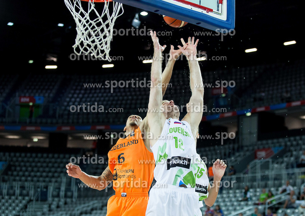 Worthy de Jong of Netherlands vs Zoran Dragic of Slovenia during basketball match between Slovenia vs Netherlands at Day 4 in Group C of FIBA Europe Eurobasket 2015, on September 8, 2015, in Arena Zagreb, Croatia. Photo by Vid Ponikvar / Sportida