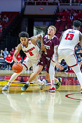 NORMAL, IL - January 07: Rey Idowu provides a screen for Zach Copeland forcing Tyrik Dixon to try and squeeze inbetween during a college basketball game between the ISU Redbirds and the University of Missouri State Bears on January 07 2020 at Redbird Arena in Normal, IL. (Photo by Alan Look)