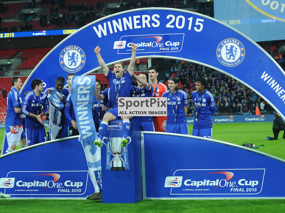 Chelsea celebrate Winning the Capital One Cup, Capital One Cup Final, Chelsea v Tottenham Hotspur Wembley Stadium Sunday 1st March 2015