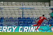 Bristol City forward Famara Diedhiou (9) puts his penalty over the crossbar, penalty shoot-out, during the EFL Cup match between Queens Park Rangers and Bristol City at the Kiyan Prince Foundation Stadium, London, England on 13 August 2019.