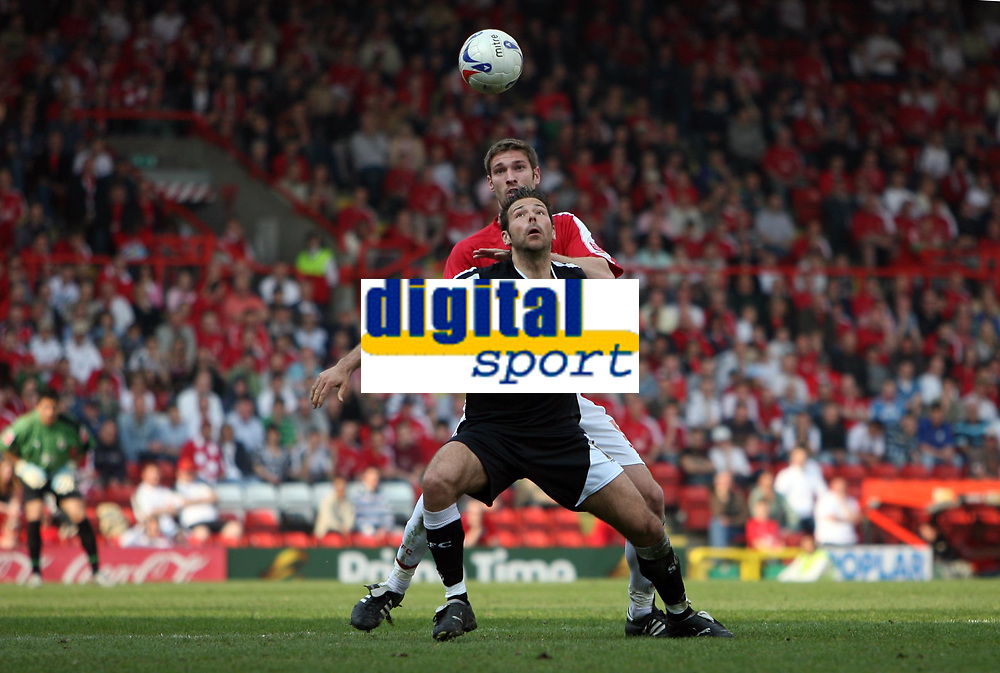Photo: Rich Eaton.<br /> <br /> Bristol City v Swansea City. Coca Cola League 1. 07/04/2007. Pawel Abbott front of Swansea and Bristols Jamie McCombe go for the ball