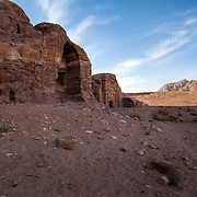 Tombs in the Nabatean city date back to the second century B.C. Petra, Jordan, December 2013.