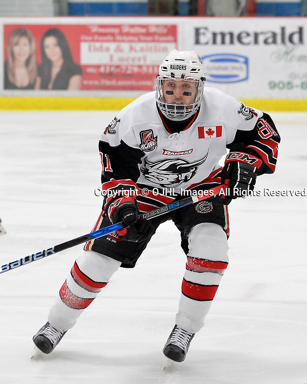 GEORGETOWN, ON  - APR 18,  2017: Ontario Junior Hockey League, Championship Series.  Georgetown Raiders vs the Trenton Golden Hawks in Game 3 of the Buckland Cup Final.  Louis Kereakou #81 of the Georgetown Raiders during the first period.<br /> (Photo by Shawn Muir / OJHL Images)
